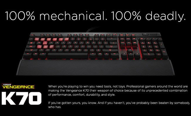 Keyboard Corsair Vengeance® K70 Fully Mechanical Gaming Keyboard - Anodized Black - Cherry MX Brown
