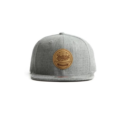 Giaythethaonam.vn - Nón Snapback P895 Leather heatprinting Premier circle grey