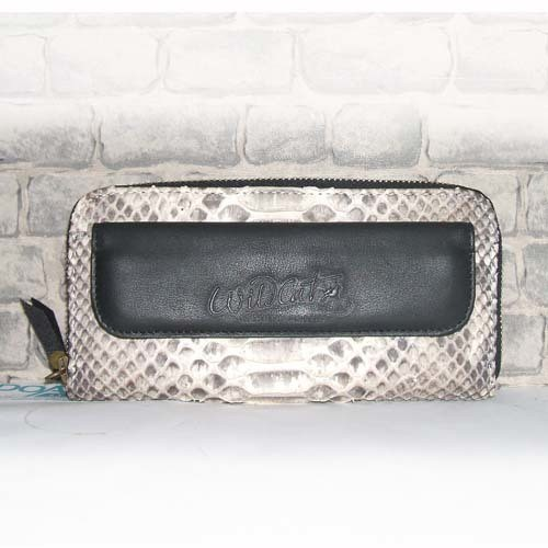 PYTHON LEATHER FLAP CLUTCH WITH ZIPPER CLOSURE