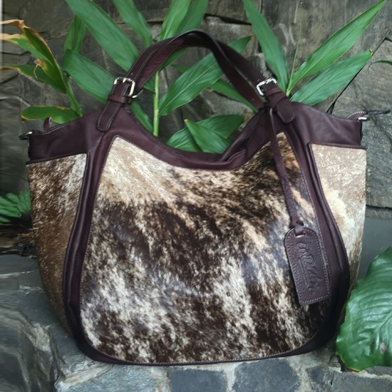 W COW HAIR LEATHER BETTY Bag with Exotic trims