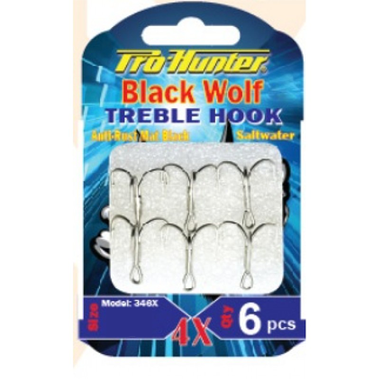 Prohunter Black Wolf Treble Hook 4X( Lưỡi Popper )