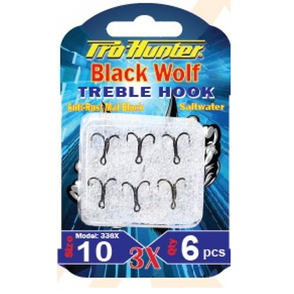 Prohunter  Black Wolf Treble Hook 3X ( Lưỡi Popper )