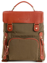 Monsac Nylon And Leather Backpack Khaki