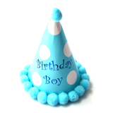 Nón sinh nhật chấm bi xanh Birthday Boy - Birthday boy blue polka dot party hat