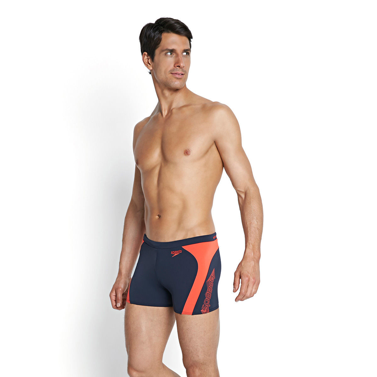 Speedo - Quần Bơi Nam Endurance+ Monogram Graphic Splice Aquashort Navy/Red