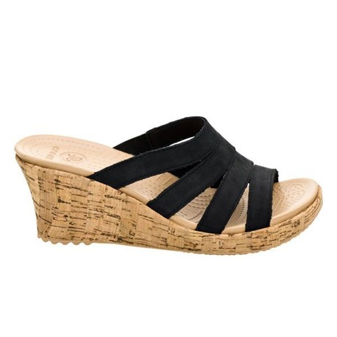 Crocs - A leigh Giày Sandal Guốc Wedge Women Black/Gold Nữ