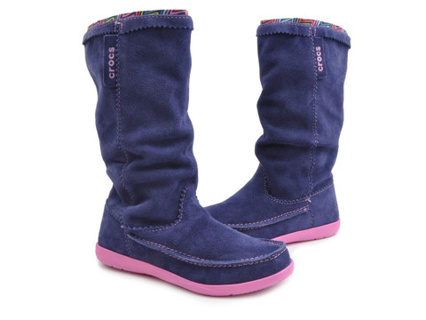 Crocs - Adela Suede Giày Cổ Cao Boot W-Nautical Navy/Party Pink Nữ