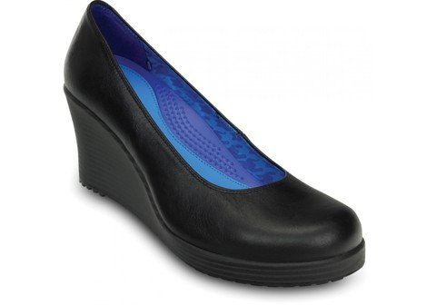 Crocs - A-Leigh Closed Toe Guốc Wedge Black/Black Nữ