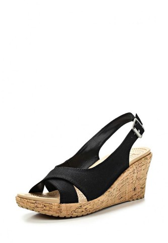 Crocs - A-leigh Linen Cork Wrap Guốc Wedge Black/Gold Nữ