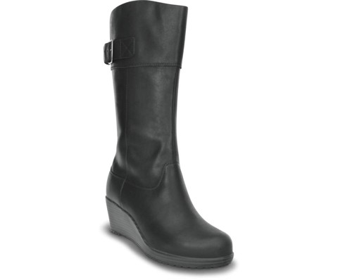 Crocs - A-Leigh Leather Giày Cổ Cao Boot W-Black/Black Nữ
