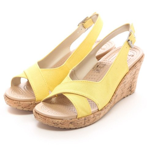 Crocs - A-leigh Linen Cork Wrap Guốc Wedge SUN SHINE/GOLD Nữ