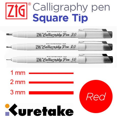 Bút Zig Calligraphy Pen, đầu Square, Red