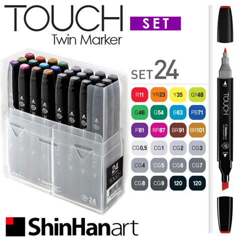 Bút marker ShinHan Touch Twin, set 24 màu