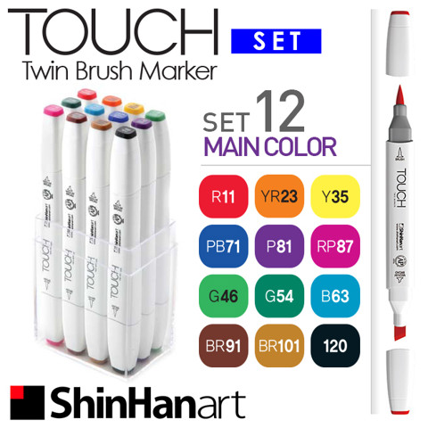 Bút marker ShinHan Touch Twin Brush, set 12 màu Basic