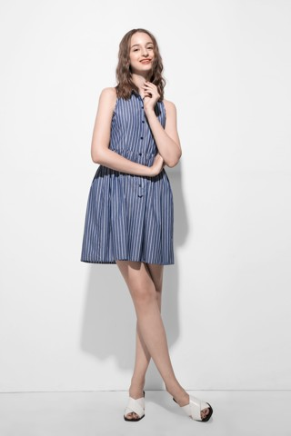 Polka Blue Shirt Dress