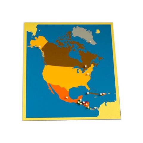 Ghép hình Bắc Mỹ<br> NEW North America Puzzle Map With BASSWOOD FRAME