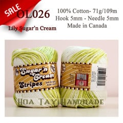 Len Cotton Lily Sugar'n Cream màu Lime Stripes