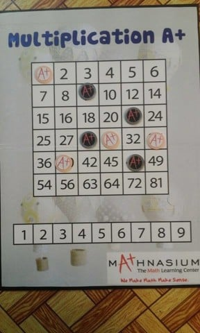 Multiplication A+ Board game