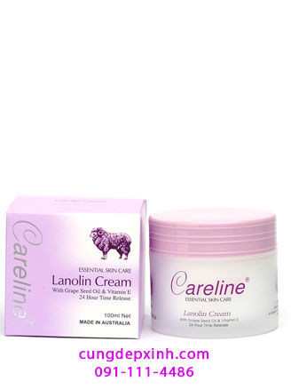 Kem cừu Careline Lanolin Cream with Grape Seed Oil và vitamin E Úc