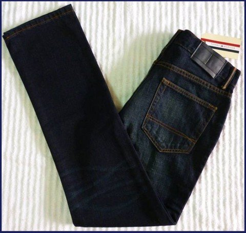 "QN 19 - QUẦN JEAN NAM ""TOMMY- HILFIGER "" SLIM FIT/ xanh den- was nhẹ size 31/30 MEXICO"