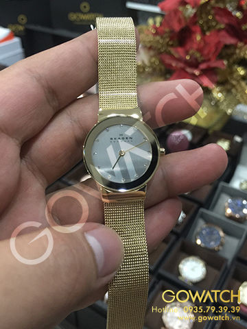 SKAGEN Freja Silver Dial Gold-plated Mesh Ladies Watch