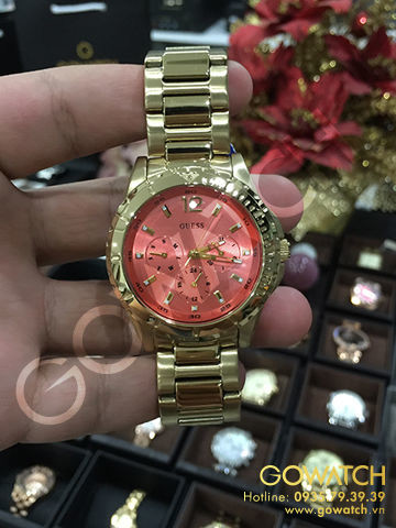 GUESS Women's Stainless Steel Gold-Tone Watch with Coral Multi-Function Dial