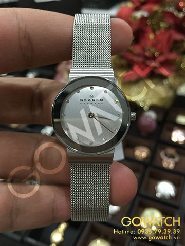 SKAGEN Classic Chrome Dial Mesh Ladies Watch