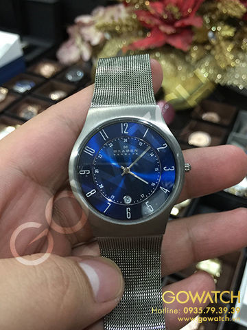 SKAGEN Titanium Steel Mesh Blue Dial Men's Watch