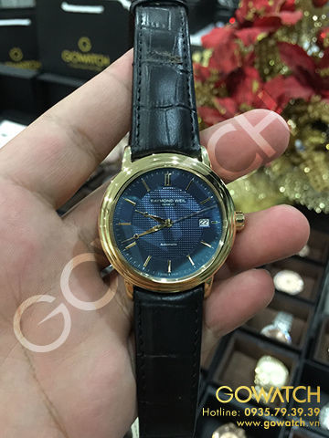 RAYMOND WEIL Maestro Blue Dial Black Leather Men's Watch