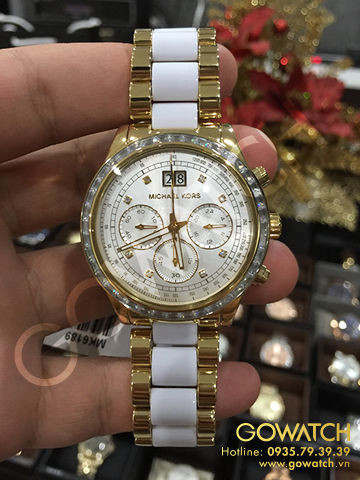 MICHAEL KORS Brinkley Chronograph White Sunray Dial Gold-tone and White Acetate Ladies Watch