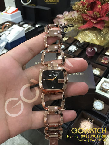 GUCCI G Black Diamond Dial Rose Gold PVD Stainless Steel Ladies Watch
