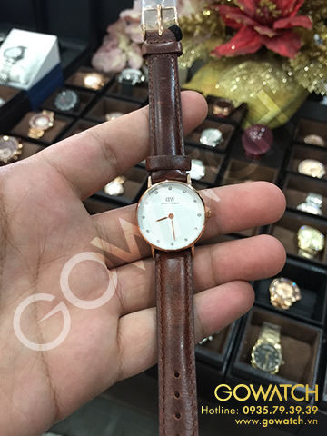 DANIEL WELLINGTON Classy Bristol Eggshell White Dial Brown Leather Ladies