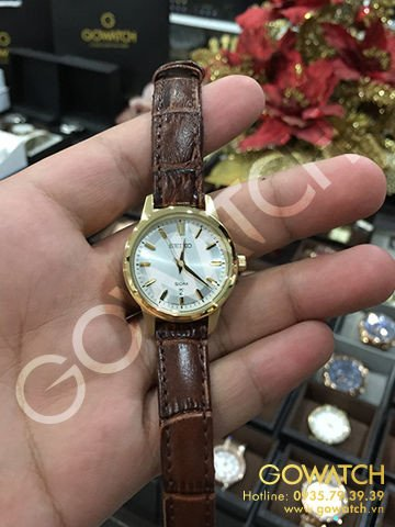 SEIKO Silver Dial Brown Leather Ladies Watch