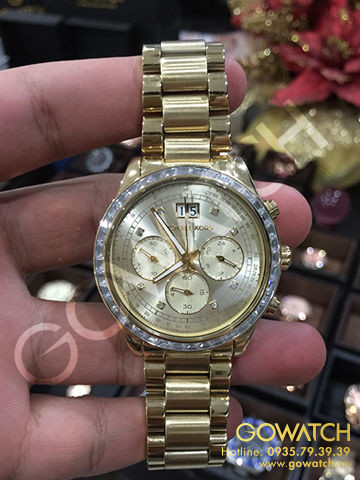 MICHAEL KORS Brinkley Chronograph Gold Dial Gold-tone Ladies Watch