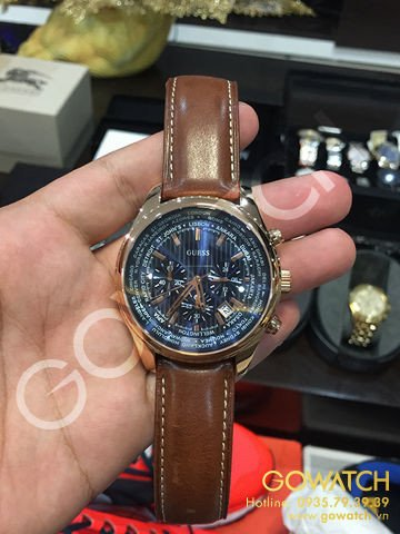 GUESS Men's  Honey Brown Chronograph Watch with Blue Dial & Date Function