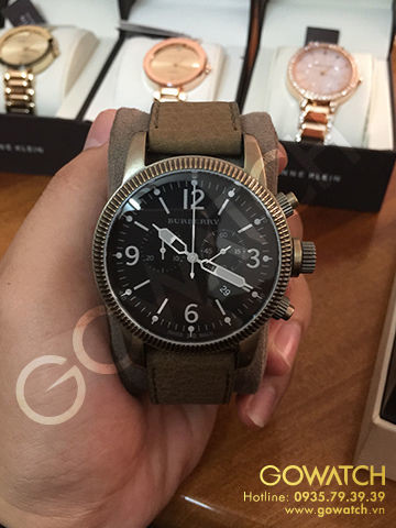 Burberry Men's Brown Leather Strap Black Dial Chronograph Watch
