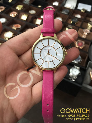 Anne Klein Women's  Gold-Tone Watch With Magenta Leather Strap