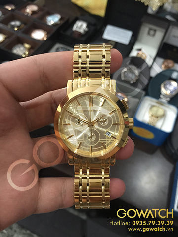 Burberry Men's  Heritage Gold-Plated Stainless Steel Gold Chronograph Dial Watch