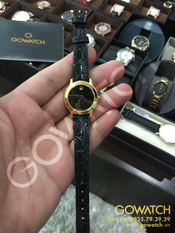 Elegant Movado Black Museum Dial Black Leather Band Ladies Watch