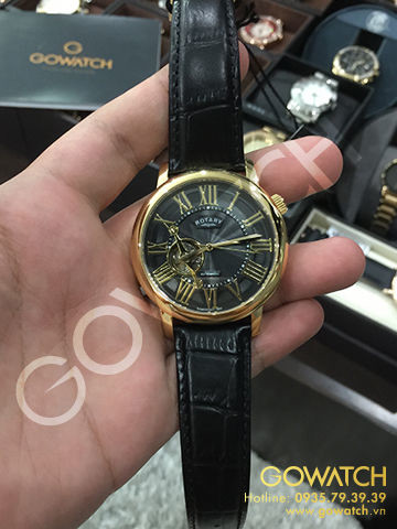 Rotary Men's  Black Genuine Leather Band Steel Case Automatic Analog Watch
