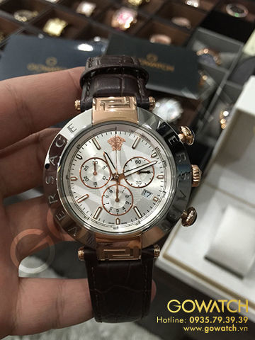 Versace Reve Chrono Brown Leather Men Watch