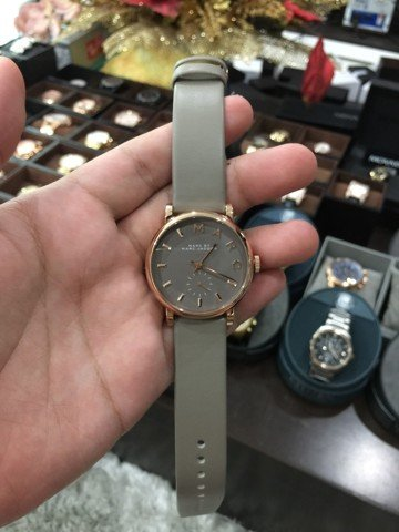 MARC BY MARC JACOBS Baker Grey Dial Gravel Gray Leather Ladies Watch