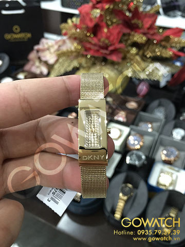 DKNY Champagne Crystal-Set Dial Gold-tone Mesh Ladies Watch