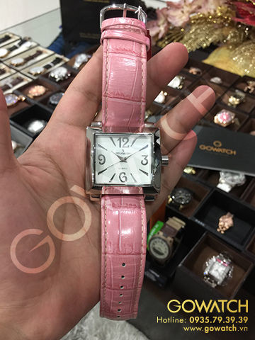 Peugeot Women's Silver-Tone Pink Leather Strap Watch