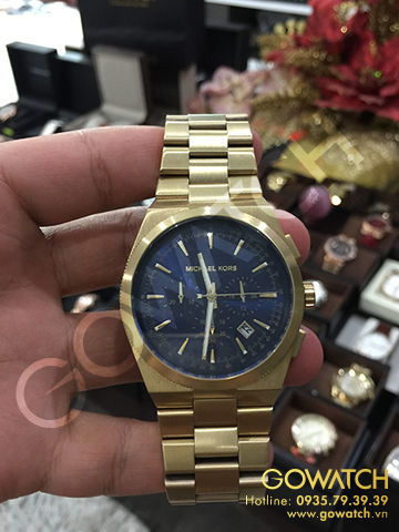 MICHAEL KORS Brooks Chronograph Blue Dial Gold-tone Men's Watch