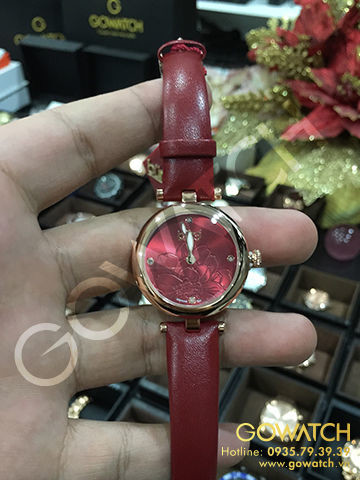Burgi Diamond Markers Floral Embossed Dial Rose Red Womens Watch