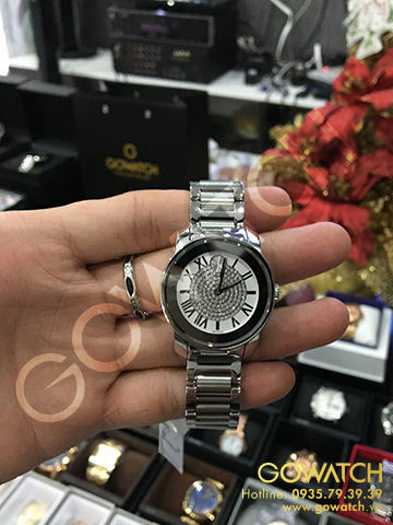 MOVADO Bold Silver Crystal Pave Dial Stainless Steel Ladies Watch
