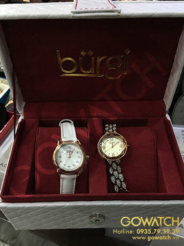 Burgi Women's Genuine Crystals Analog Display Quartz Watch Set of 2