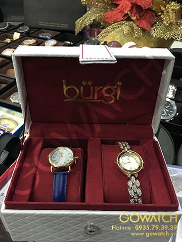 Burgi Women's Analog Display Japanese Quartz Blue Watch Set