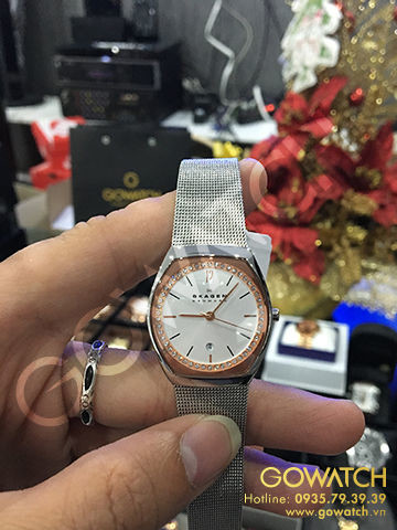SKAGEN Asta Silver and Rose Dial Stailess Steel Mesh Ladies Watch
